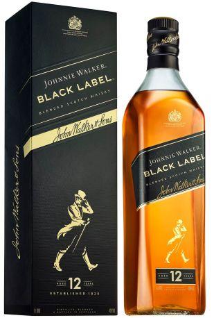 Виски Johnnie Walker Black label 12 лет выдержки 1 л 40% в подарочной упаковке